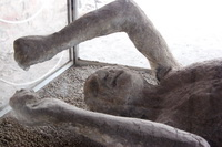 Some of the victims in Pompeii, their final moments preserved by the ash which buried them.