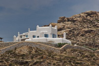 The buildings of Mykonos look like wedding cakes.