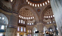 Interior of the Sultan Ahmed Mosque, aka the Blue Mosque.